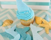 Fondant Edible Mermaid Cupcake Toppers 12 mermaid tails only please choose your colors