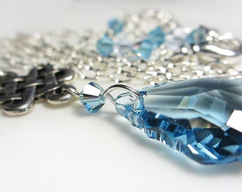 Swarovski AQUAMARINE Crystal Necklace Blue Necklace Sky Blue Aqua Baroque Briolette Necklace Blue Crystal Silver Eternity Pendant Necklace