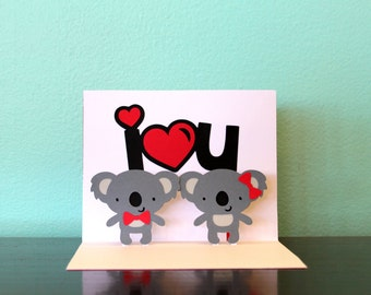 Pop Up Card - I <3 U - Koala Card