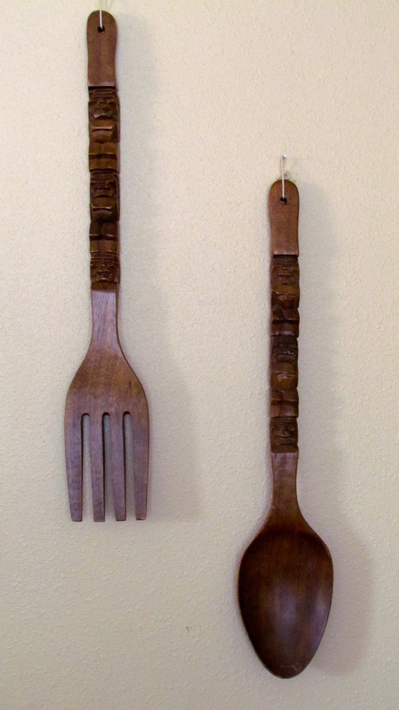 Large Wood Fork Spoon Tiki Wall Decor