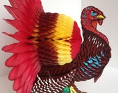 Vintage Honeycomb Tom Turkey /  Thanksgiving Tabletop / Made in Japan / Vintage Paper Turkey