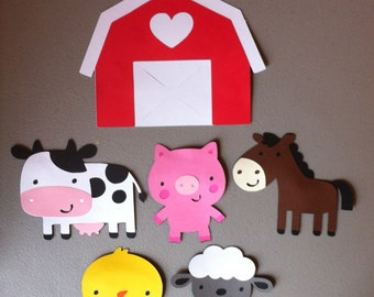 Set of 6 Farm Animals - Barn, Cow, Pig, Horse, Chick & Sheep