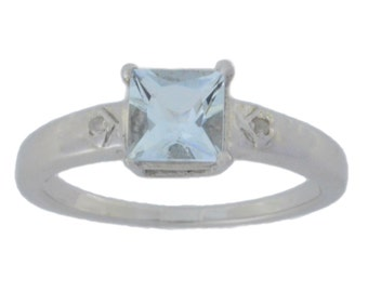 1 Ct Genuine Aquamarine & Diamond Princess Cut Ring .925 Sterling Silver Rhodium Finish