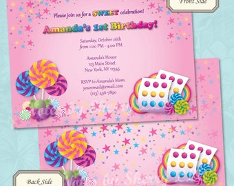 Candyland Bright Rainbow Candy Birthday Invitation - Printable Digital File (Print Your Own)