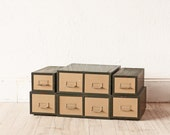 Set of 6 Industrial File Cabinet Metal Drawers Card Catalogue