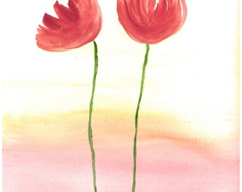 Dreamy poppies art, original watercolour painting, poppies art, red flowers painting, gift for her, poppies illustration