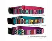 Dog collar dog leash Embroidered dog collar Southwestern Navajo Aztec Native American style stripe dog collar custom adjustable dog collar