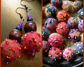 CASTAGNE Earrings, Rusty Fall colors, Handmade beaded balls, ready to ship, Boho Gypsy dangle