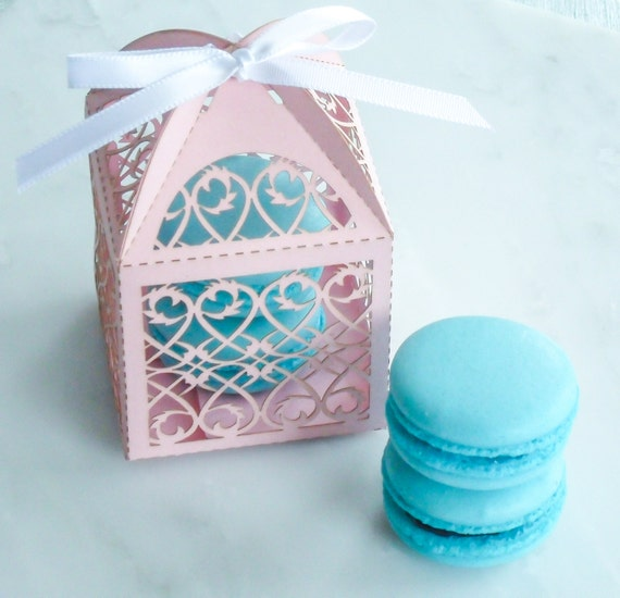 Wedding Favors French Macaron Favor Wedding Vines Favor Box and (2 ...
