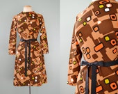 60's Mod Retro Geometric Brown Long Sleeve Mini Go Go Twiggy Vibrant Lime Green Orange Block Party Hostess Disco Shift Dress Size M L