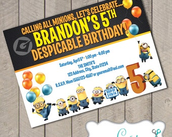 Despicable Me Minions DIY Printable Birthday Invitation by Carta Couture