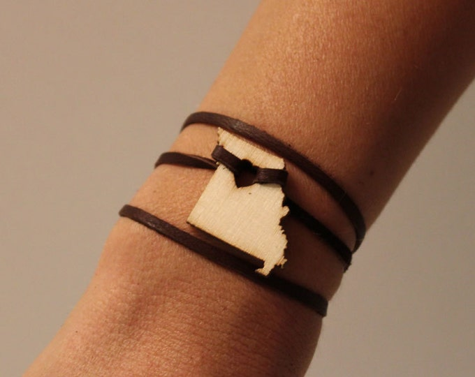 Missouri Leather Wrap Bracelet