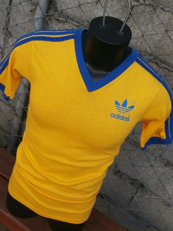 Vintage old school adidas trefoil v neck ringer t shirt for Adidas ringer t shirt