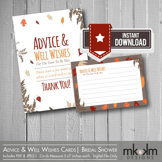 Advice & Well Wishes Cards: Festive Fall Theme By MKKMDesigns