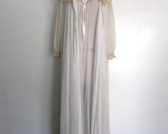 1950s white  lace peignoir | vintage 50s lace peignoir | bridal lingerie | medium - large | The Kelsey Peignoir