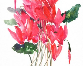 Red flowers  Cyclamens, Original watercolor painting, brigh red floral wall art, 12 X 9 in bright pink floral art