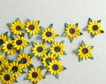 25mm Die Cut Sunflowers - yellow paper flowers with brown centre - 20 pieces - Great for scrapbooking and creative craft projects
