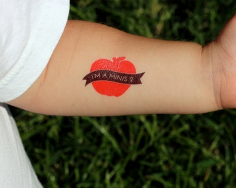 18 Custom Temporary Tattoos for the WHOLE CLASS! Back to School Goodies (Apple Design)