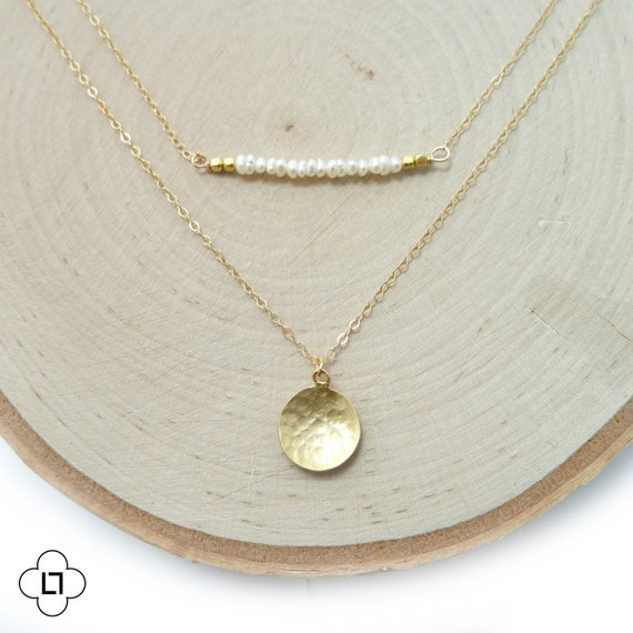 Gold and Pearl Bar Layer Necklace