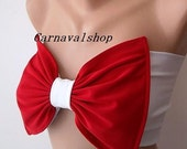 PADDED Red Bow Bikini Top Swimwear Bikinis Top Swimsuit - Spandex Bandeau -Women's Fashion by CarnavalBoutique