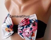 PADDED Bow BandeauTop-Swimwear-Swimsuit - Spandex Bandeau-sun bathing- pink roses-Bandeau-bikini