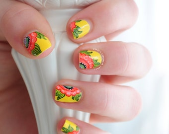 Summer Flower Hand Painted Fake Nails