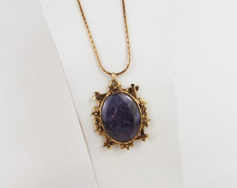 Lavender Agate Pendant/Necklace - Natural Stone Pendant/Necklace - 30mm x 40mm Purple Agate in Gold Tone Setting