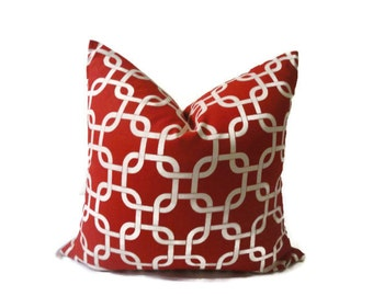 HOLIDAY 16x16 Red and White Premiere Print Throw Pillow Cover. TOSS CUSHION Cover.