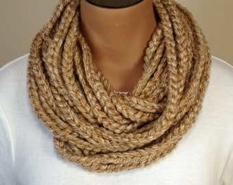 Crochet Chain Necklace Scarf Tan Neutral Scarf