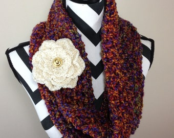 Purple Green Crochet Cowl, Crochet Purple Orange Scarf, Chunky Cowl, Fall Scarf, Mobius Scarf READY TO SHIP
