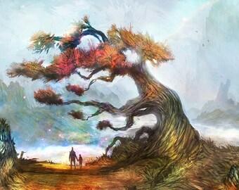 Tree of Wanderlust [A4] illustration print // 11.7 x 8.3 inch //