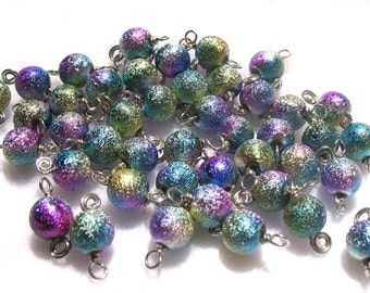 Galaxy Bead Charms - Purple Blue Green Sparkly Beads - Wire-wrapped beads for DIY Bracelets - Set 18B