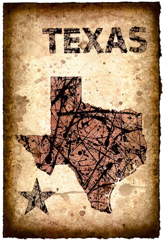 Texas Map Art Print 11 x 165 Stencil Prints of
