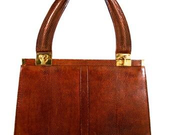 Tan Brown Leather Handbag Purse Women Brass Hardware Small Coin Purse Handle