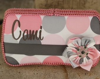 Pink and Grey Disco Dot Blossom Michael Miller Flower Boutique Wipe Case
