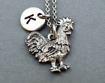 Rooster necklace, Rooster charm, antique silver, initial necklace, initial hand stamped, personalized, monogram