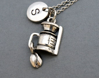 Coffee maker necklace, Coffee bean necklace, Coffee machine, initial necklace, hand stamped, personalized, antique silver, monogram