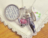 Jane Austen Sense and Sensibility Book and Tea Necklace -  Tea with the Dashwood Sisters - Handmade Jewelry Inspired by Classic Literature - CiarraiStudios