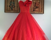 RESERVED -- 1950s Red Cupcake Prom Dress--Sheer Lace with Tangerine Liner