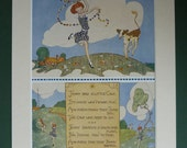 1920s Vintage Countryside Print - Available Framed - Vintage Cow Decor - Jenny Gift - Dancing Girl Print - Country Decor - Baby Calf Picture