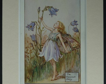 1925 Vintage Print Of The Harebell Fairy - Flower Fairies Of The Summer First Edition - Old Cicely Mary Barker Print - Wildflower - Bluebell