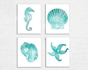 Nautical Art Set of 4 Prints, Turquoise Teal White, Seahorse Print, Starfish, Seashell Wall Art, Teal Bathroom, Modern Beach House Decor