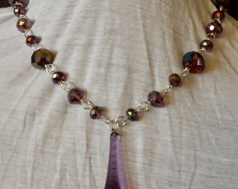 Vintage Upcycle Purple and Silver Chandelier Crystal Necklace and Earring Set