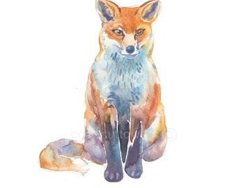 Childrens Art - Animal Painting - Size 8x10inches  - Watercolor Painting - Art Print -  Fox 2