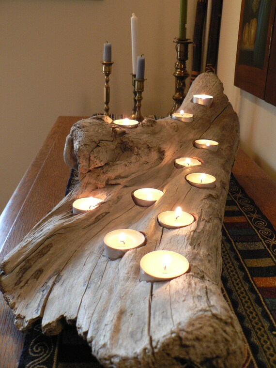 Driftwood rustic candle holder large