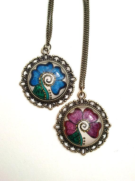 Mehndi Flower Jewelry Houston : Vanda flower necklace hand drawn henna mehndi by eternalgirl