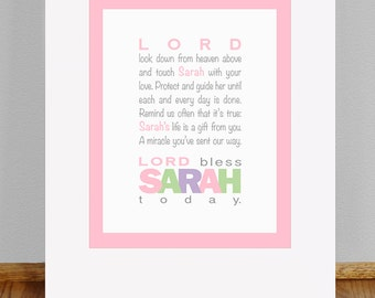 "Girls Prayer - 8x10"" PRINT - Baptism Gift - Christening Gift - Baby Gift  - Personalized Wall Art for Nursery"