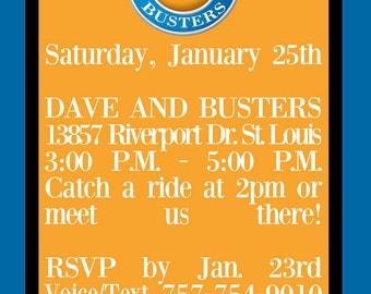 Custom Dave and Busters Inspried Invitations for Birthday Parties Invites