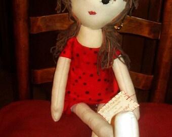 """Pokadot Polly - 27"""" Cloth Doll"""