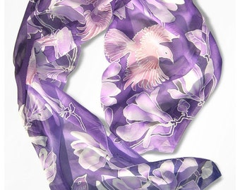 Violet scarf - Birds scarves - silk scarf hand painted Magnolia scarf - long scarf  - lila scarf - purple scarf with birds scarf - Habotai